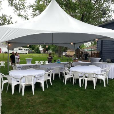 Round Tables w/Chairs under 20X20 High Peak Tent