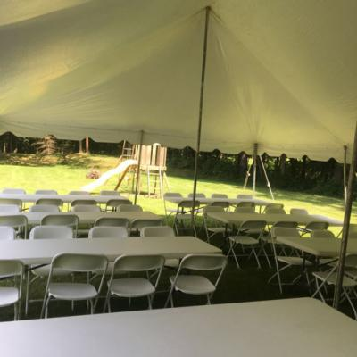 Pole Tent w/Long Tables and Chairs